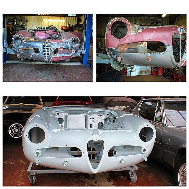Alfa Romeo 750 series Giulietta Spider during welding & then after paint
