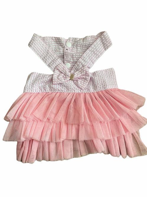Pink/White Stripe Ruffle Dress