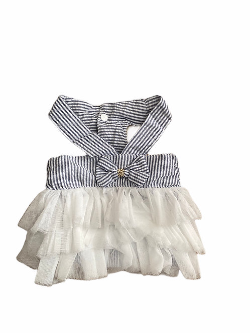 Blue/White Stripe Ruffle Dress
