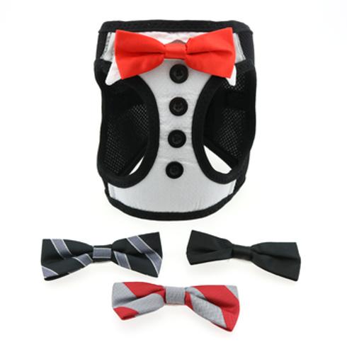 Tuxedo Pet Harness (4 Interchangeable Bows)