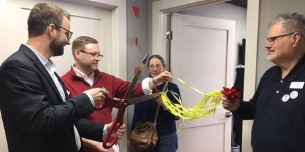 Executive Director, Brian Sauder cuts a ribbon at the celebration!!