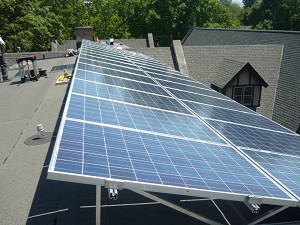Solar array installed on the roof of St. Elisabeth's Episcopal Church in Glencoe
