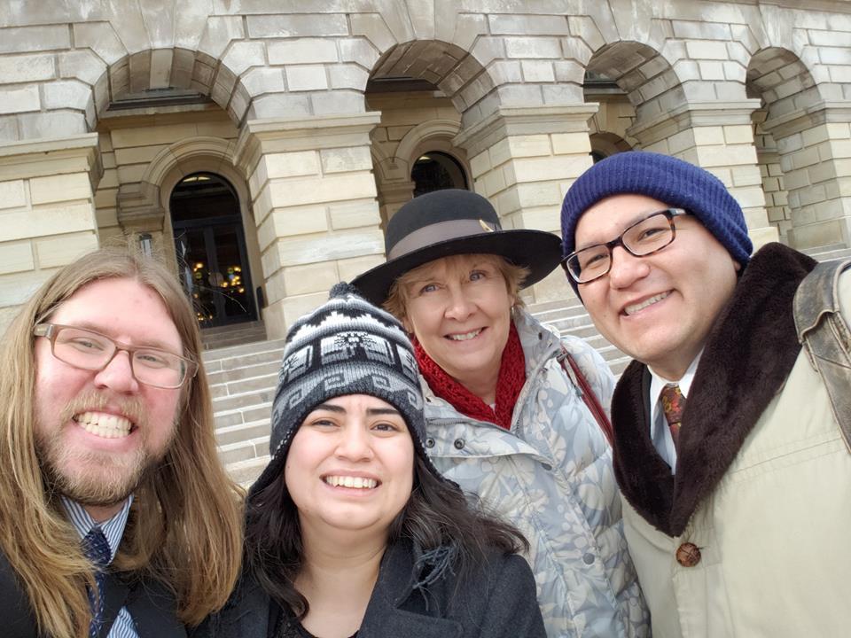 L-R: Dylan Blake, Celeste Flores, Rev. Cindy Shepherd, and Alderman David Villalobos at the State Capitol