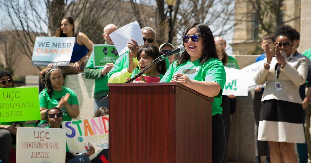 Youth speakers energized the crowd, including former Eco-Ambassador, Lupe Bueno (left)