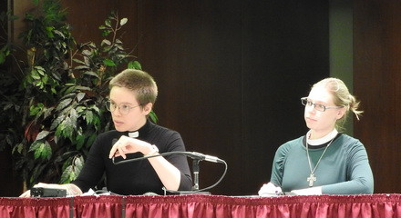 Lutheran School of Theology at Chicago students, Robin and Amy, provide testimony at the EPA Hearing.