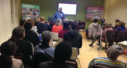 Faith in Place presents its Faithful Citizens Workshop to a small crowd.