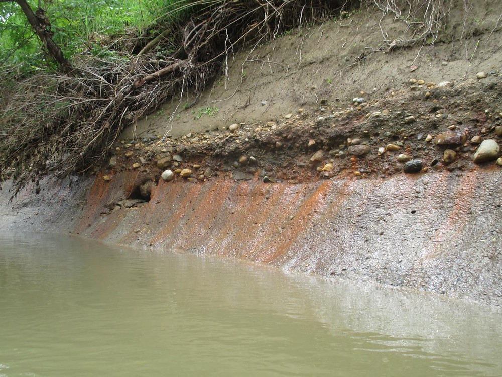 Orange coal ash seeps into the Middlefork of the Vermillion River.