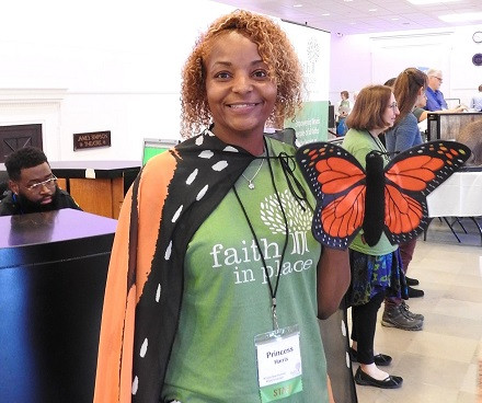 Princess gets ready to co-facilitate a workshop on Monarch Butterflies at the 2018 Green Team Summit