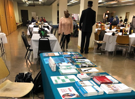 Tabling at a Black History Month event at Holy Angels Church.