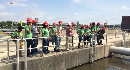 Eco-Ambassadors visit the MWRD Water Treatment Facility in Stickney, IL.