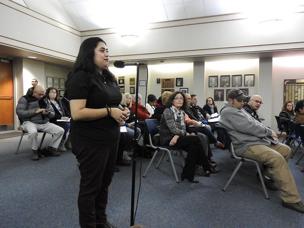 Celeste speaking at a meeting held on 11/12/2018 by Gurnee Village Board about EtO pollution.