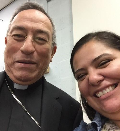 Lorena Lopez met Cardinal Rodriguez Maradiaga in D.C.