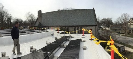 Solar Panels installed on the roof of the Unitarian Universalist Church of Champaign-Urbana in 2016