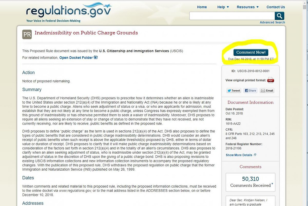 A screenshot of the comment form for the proposed changes to the Public Charge Rule