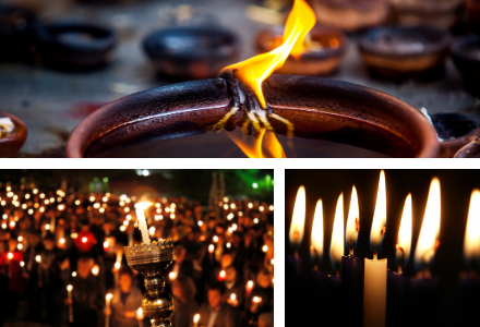 Candles are lit at Diwali in November, at Hannukah in December, and at Easter Vigil in spring.
