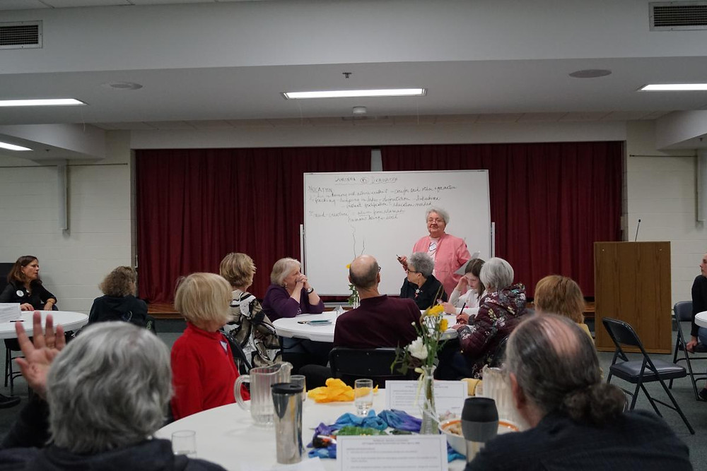 A recent Earth Care Team Meeting where the group led a conversation based on the Earthbound movie series.