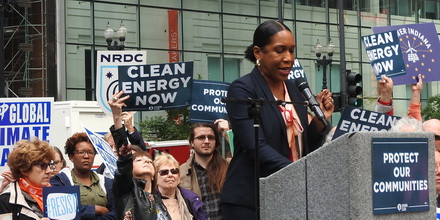 State Rep. Juliana Stratton speaks at a rally held outside of the Federal Building where the hearing was held.