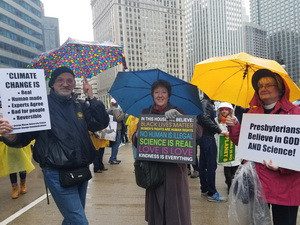 Ginnie Judd participates in a Chicago Climate March.