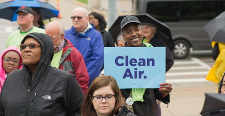 EcoAdvocate, Peggy Jones, advocates for clean air at the 2019 rally.