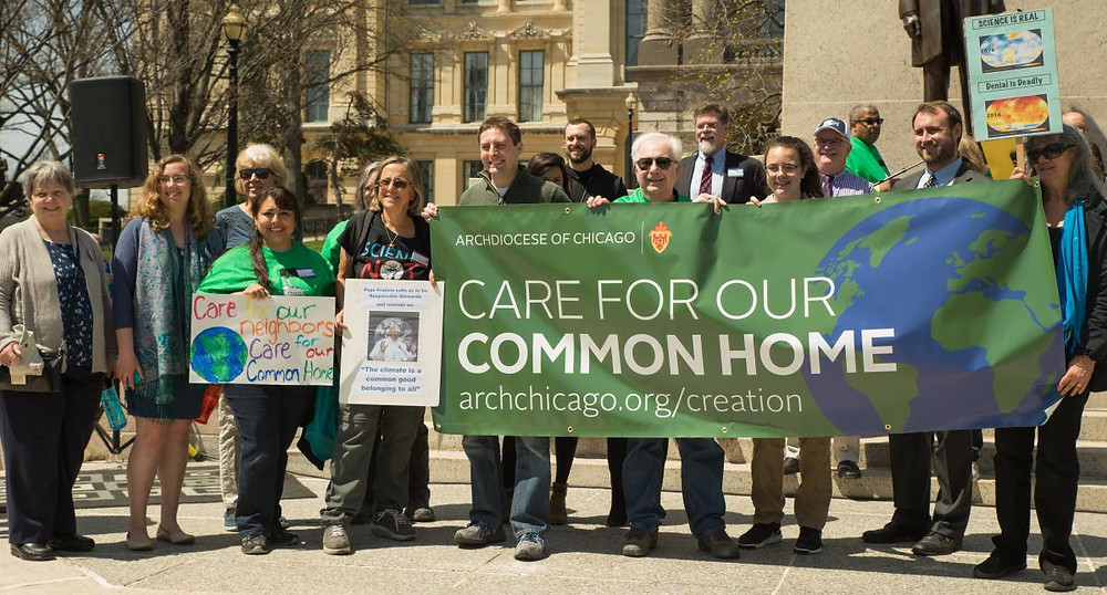 Members of the Catholic Conference of Illinois advocate for Pope Francis' Creation Care principles in Laudato si'.