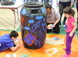 Painting Rain Barrels at Our Lady of the Snows