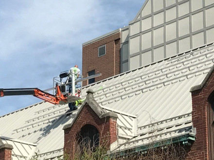 Crews started preparing the roof in May for the array.