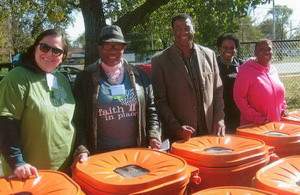 Rain barrel distribution with Trinity All Nations Garden Group