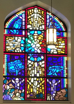 This stained glass window commemorates MLK.