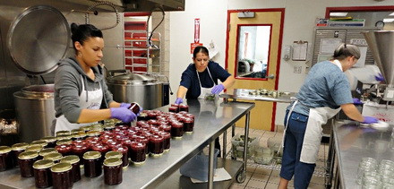 A small business hard at work in an incubator kitchen