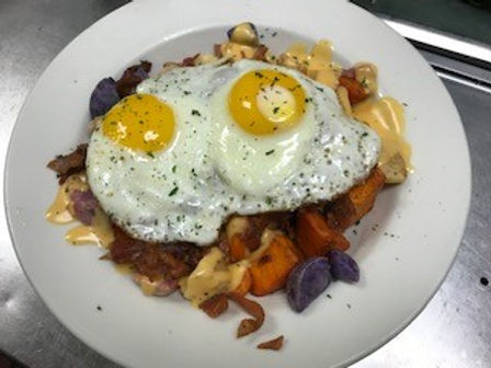 eggs with tri color potatoes and beer ch