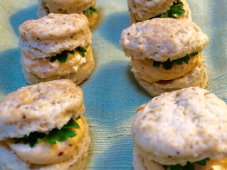 One-Bite Black Pepper Biscuits with French Pimento Cheese