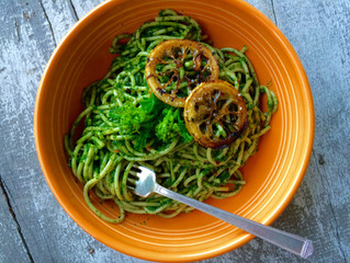 Pasta with Kale Pesto and Fried Lemons