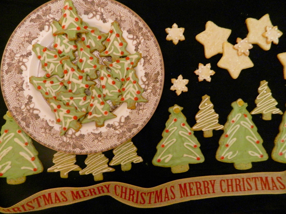 Christmas Tree Shaped Cookies on a platter