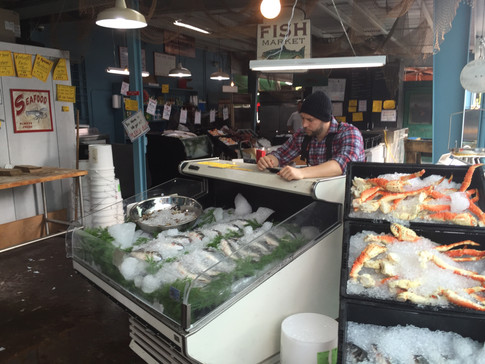 a fish market created in the back of a store for Celebrity Cruises