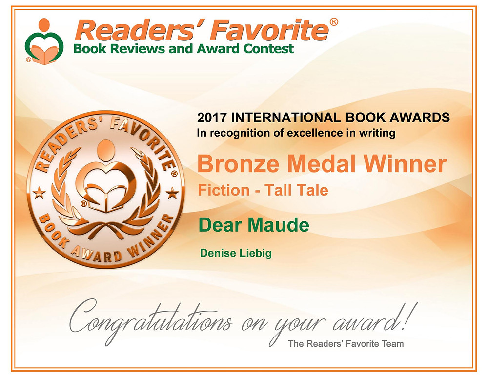 Readers' Favorite Book Award, Dear Maude, Bronze Medal