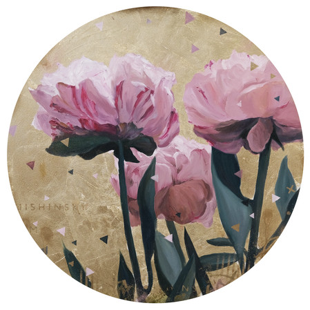 Peonies in  gold