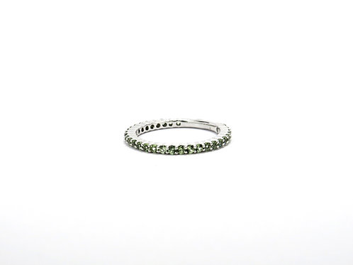 Green Sapphire Ring in 14k White Gold