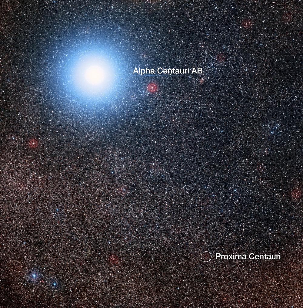 En esta imagen del cielo que rodea a la brillante estrella Alfa Centauri AB también vemos a Próxima Centauri, una estrella enana roja mucho más débil que es, además, la estrella más cercana al Sistema Solar. El montaje fue creado a partir de imágenes que forman parte del sondeo Digitized Sky Survey 2. El halo azul alrededor de Alfa Centauri AB es un artefacto del proceso fotográfico, en realidad la estrella es de color amarillo pálido, como el Sol.