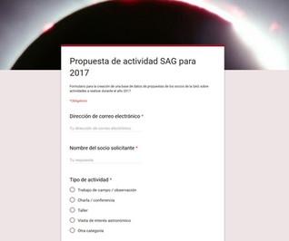2017: Propuestas de actividades en la SAG