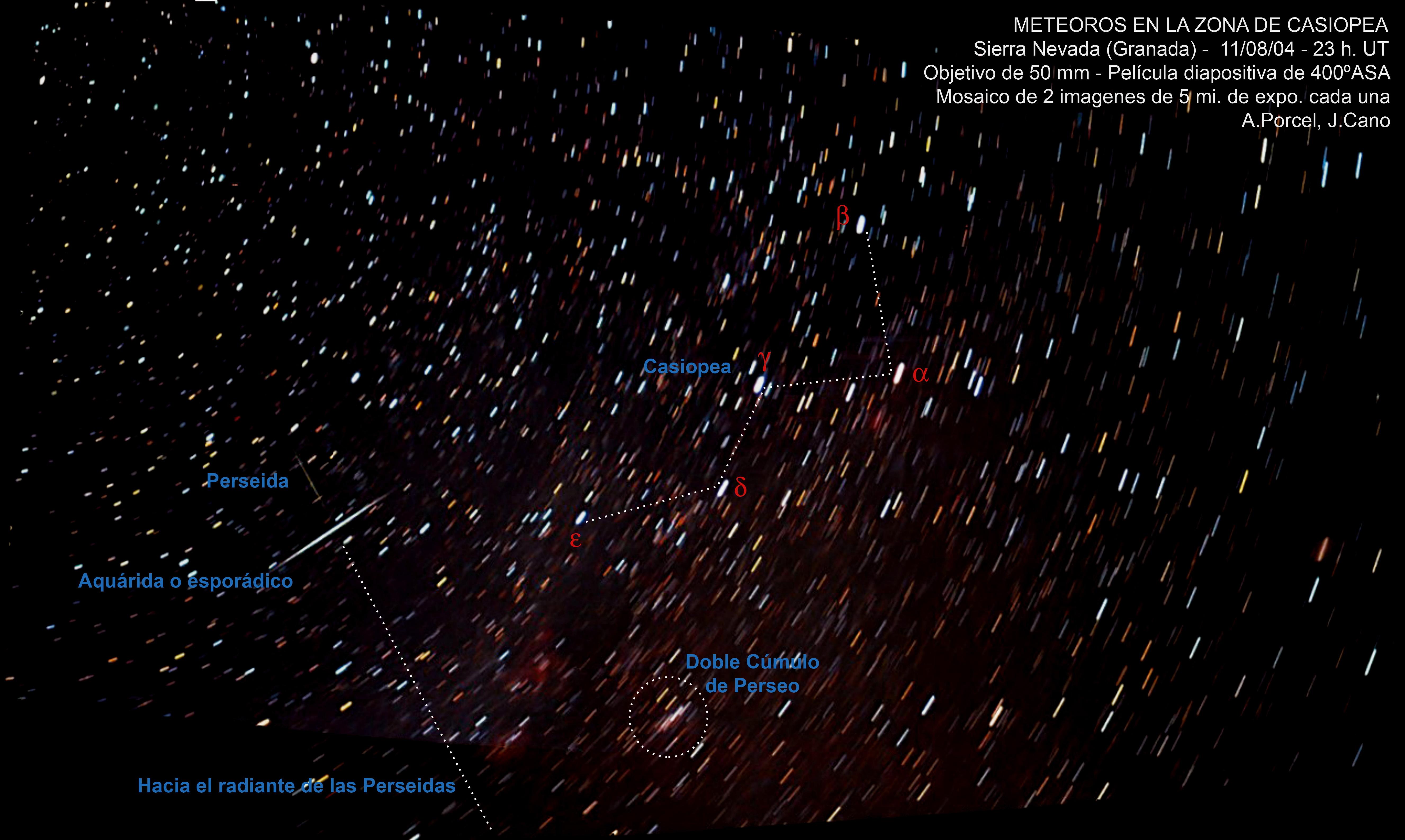Meteoros en la zona de Casiopea