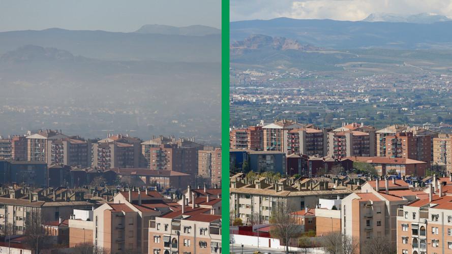 Situación que se aprecia en la zona Norte de Granada, sin la boina contaminante.