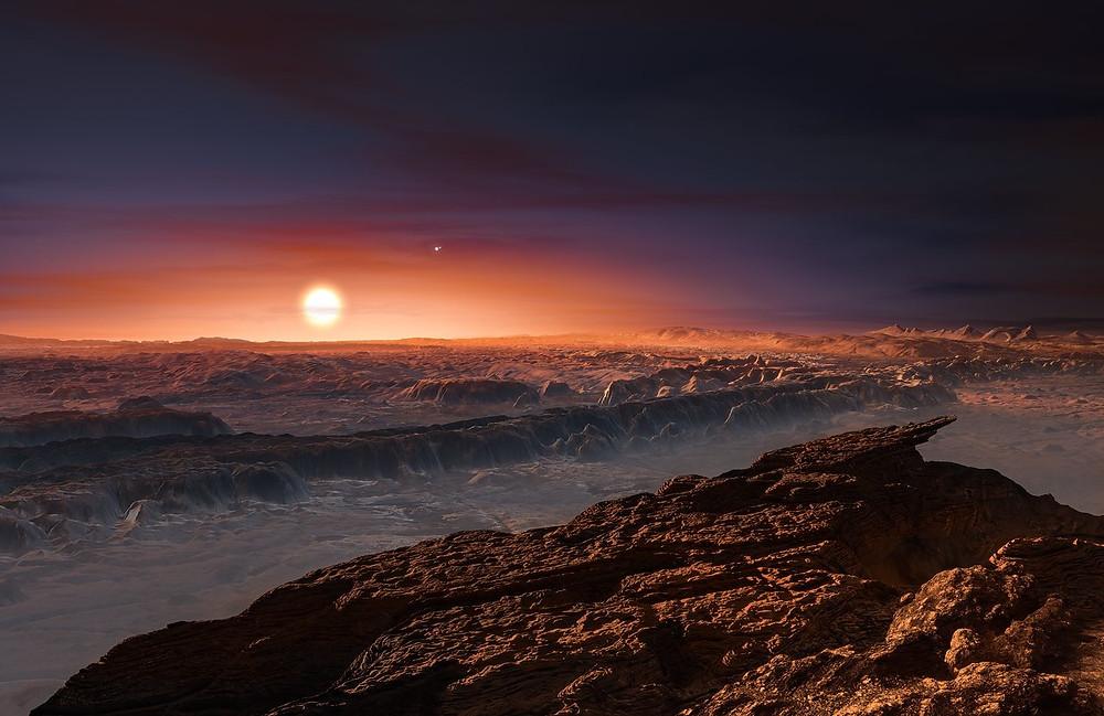 Ilustración que nos muestra la superficie del planeta Próxima b orbitando a la estrella enana roja Próxima Centauri. La estrella doble Alfa Centauri AB también aparece en la imagen, en la parte superior y a la derecha de Próxima  Crédito:ESO/M. Kornmesser