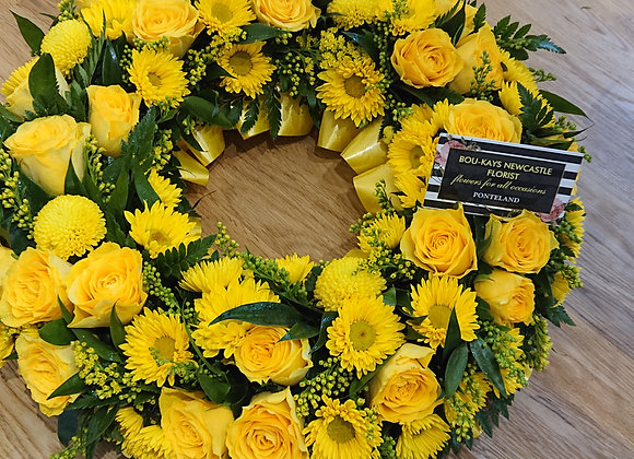 Yellow Funeral Wreath Tribute