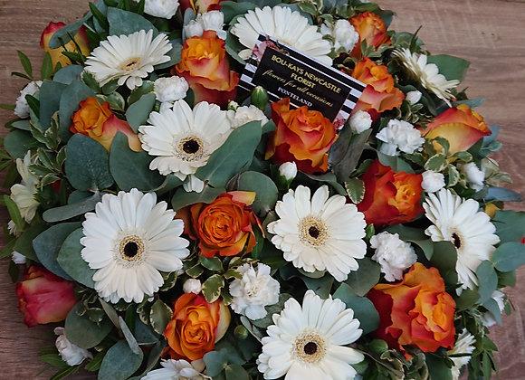 Funeral Posy WHT and Orange
