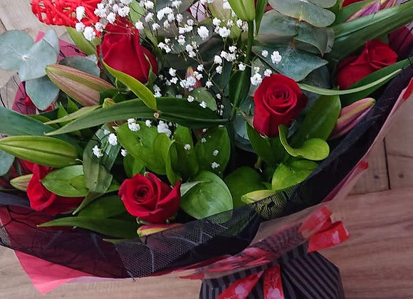 Red Rose and Pink Lily Bouquet
