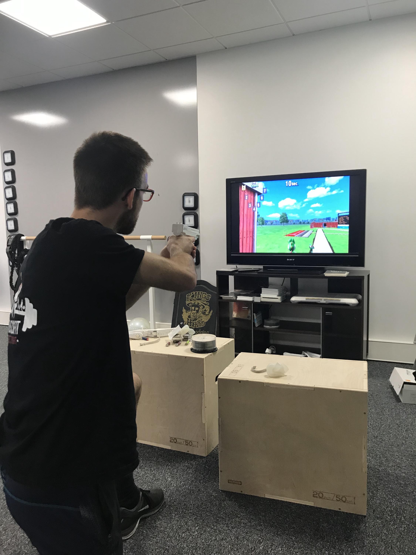 Exercice avec la console de jeu vidéo