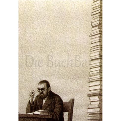 Kunstpostkarte »Mann und Bücherturm«