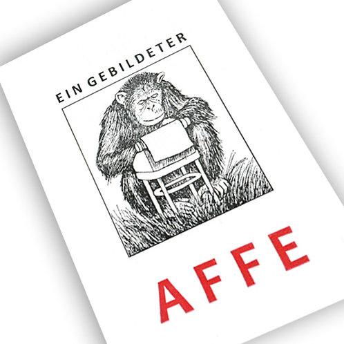 Handgedruckte Postkarte »Ein gebildeter Affe«