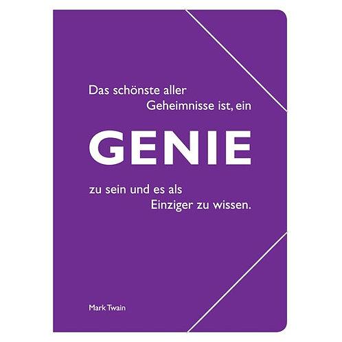 Eckspannmappe mit Zitat, Twain »Genie«