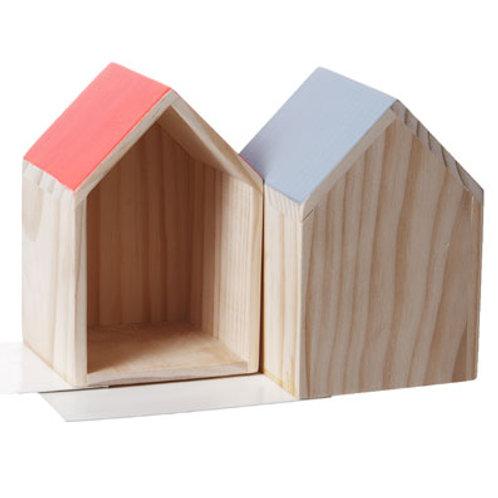 Buchstützenpaar »Holzhaus«, grau/neonorange